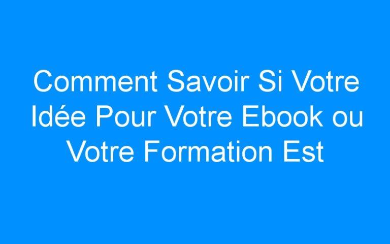 Comment Savoir Si Votre Idée Pour Votre Ebook ou Votre Formation Est Rentable?