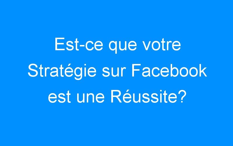 Est-ce que votre Stratégie sur Facebook est une Réussite?